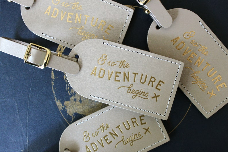 Luggage Tags Wedding Favors  And So the Adventure Begins image 0