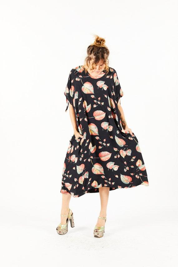 Vintage 70s Satin Leaf Print Dress - Jumping Jack Flash NYC Overstock