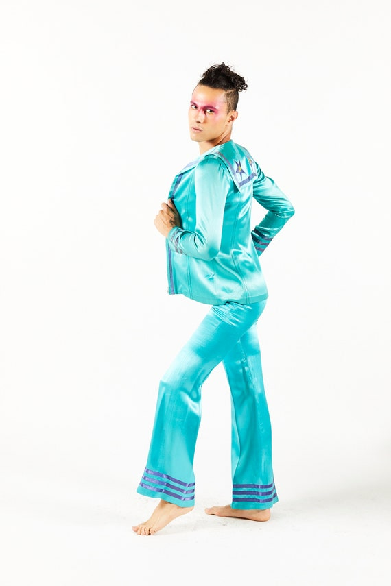 Aqua Wet Look Mr Freedom Pants & Jacket with Palm