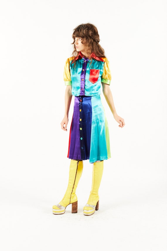 Wet Look Mr Freedom Skirt & Blouse - Color block S