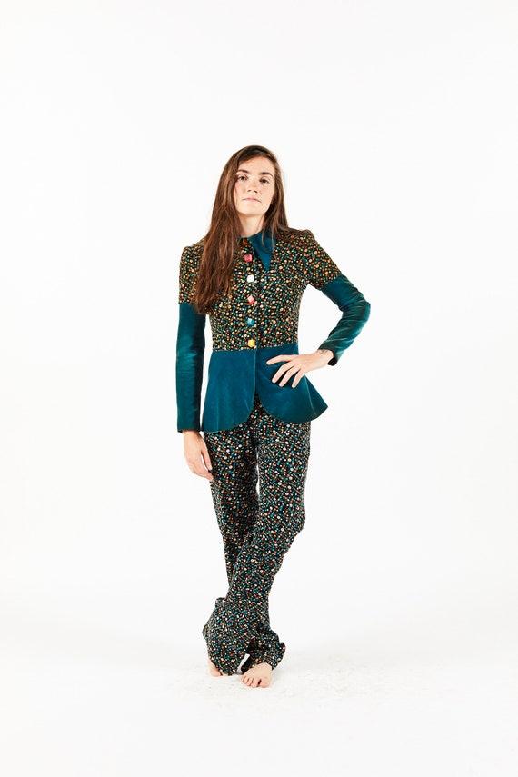 Vintage Alkasura Velvet Floral Blue Suit with Squa