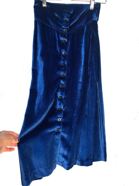Alkasura Vintage 1970s Blue Velvet Skirt Sold at J