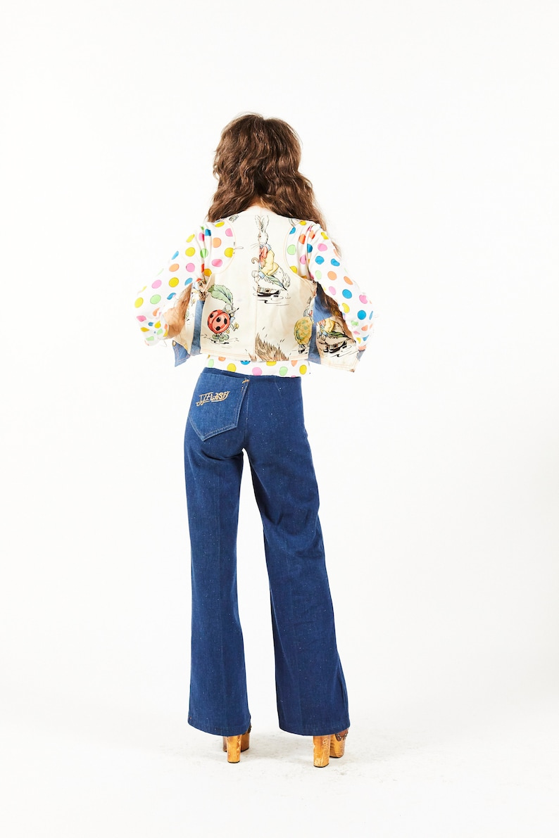 Jumping Jack Flash NYC Overstock Vintage Denim Alice in Wonderland Patchwork Denim Vest 1970s OOAK
