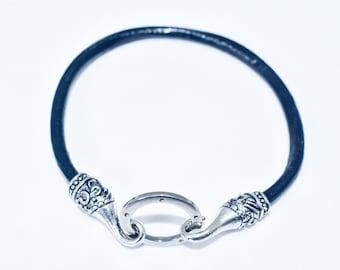 Leather Men's Bracelet/Antique Nickel Ring&Hook