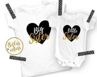 Big Sister Little Sister Outfits - Big Sister Shirt - Big Sister Announcement - Big Sister Gift - Girl Toddler Shirt - Big Sister Onesie