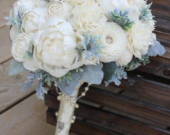 Handmade Alternative Wedding Bouquet, Sola Flower, Bridesmaid Bouquet, Keepsake Bouquet, Wedding Bouquet, Ivory Bridal Bouquet