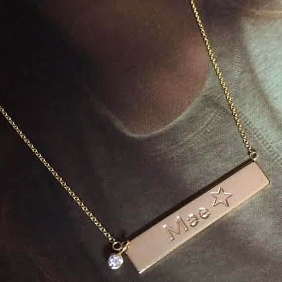 "18ct White Gold Plated Name Necklace /""ASHA/"" Made With Swarovski Elements"