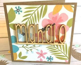 Hawaiian card etsy mahalo greeting card hawaiian greeting card wood greeting card thank you card tropical greeting card hawaiian thank you card m4hsunfo