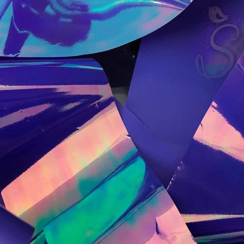 ~1-12 x 39-14 4 x 100 cm, Deep Violet Purple Opal Iridescent Transperant Film Resin Purple Color Change Film 1 Sheet Resin Inclusion