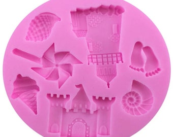 By The Sea - Silicone Mold, 7 Cavity, Resin And Polymer Clay Mold, Sand Castle, Ice Cream, Pin Wheel, Shells, Light House Beach Summer Mold