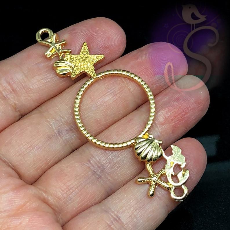 Sea Life Beach Resin Jewelry Connector 1 Mermaid Sea Life Open Connector Bezel 2-12\u201d Gold Ocean Detail with Mermaid 2 hole Pendant