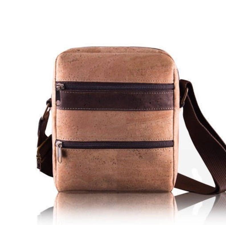 036d11dacd323 Small Crossbody bag made of Cork for Men Vegan Leather vegan | Etsy