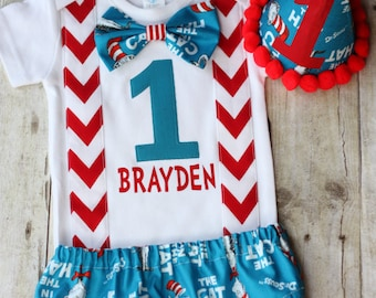 1st Birthday Outfit Cat In The Hat Dr Seuss Smash Cake Boys 3PC OUTFIT
