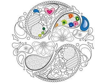 Items Similar To Coloring Page For Adults Kids Simple