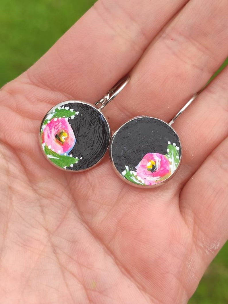 Canal roses vintage inspired earrings Nickel free earrings image 0