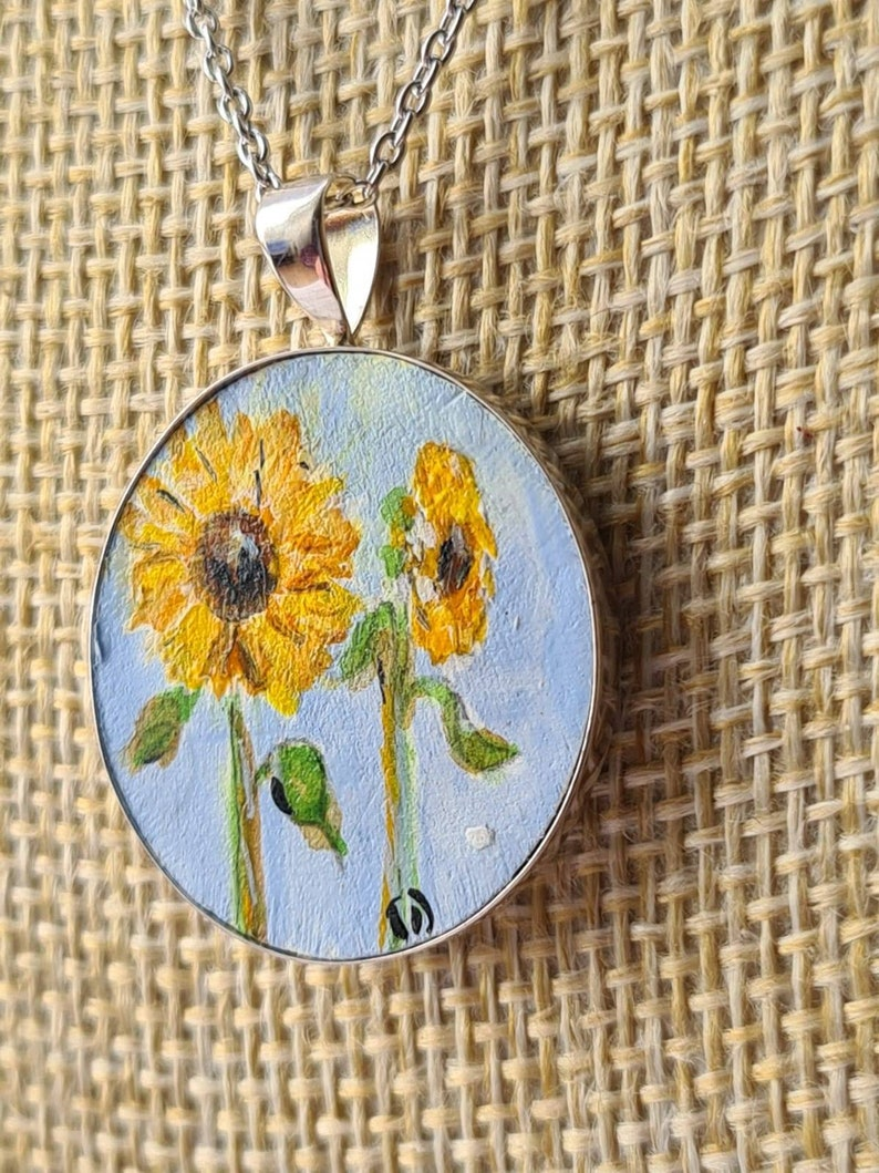 Sterling silver sunflower painted pendant August birthday image 0