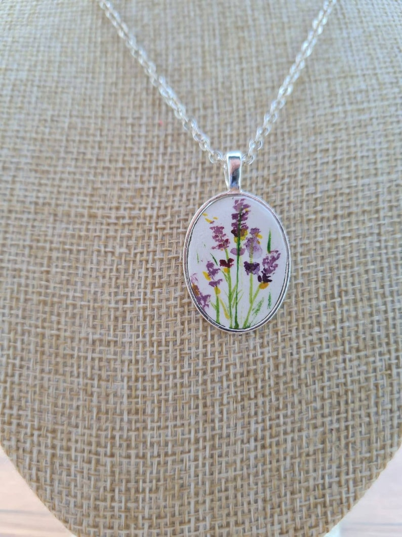 Painted lavender necklace garden lovers letterbox friendly image 0