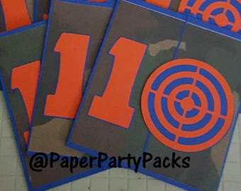 set of 8 primary colored target invitations nerf wars etsy