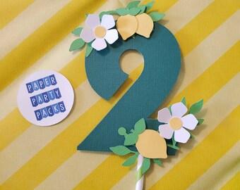 Lemon Cake Topper Lemon Lime Themed birthday party Lemon party