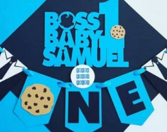 Suit and tie smash cake topper pack Topper and highchair banner