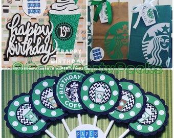 Party Pack for 6- Small Frappy Birthday Party Pack Cake Topper Cupcake Toppers siren logo favor bags