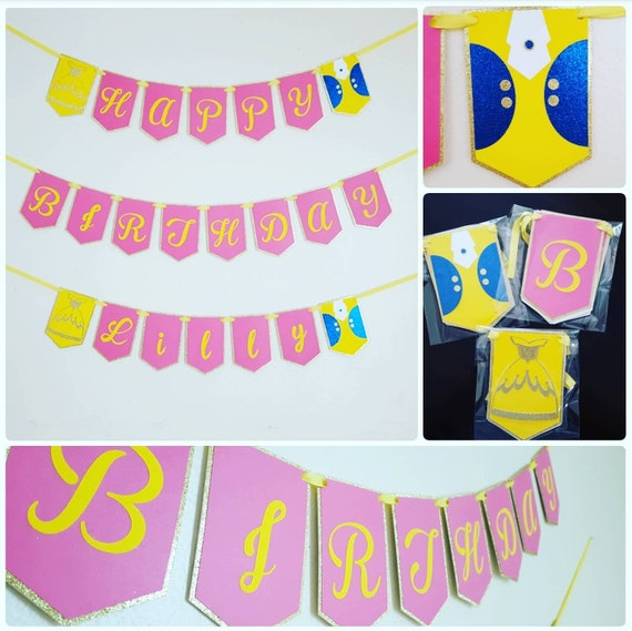 set of 3 multilayered beauty and the beast banner set happy birthday