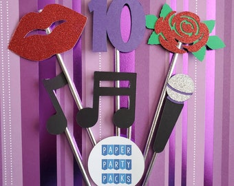 Set of 12 Music Singer themed Cupcake Toppers