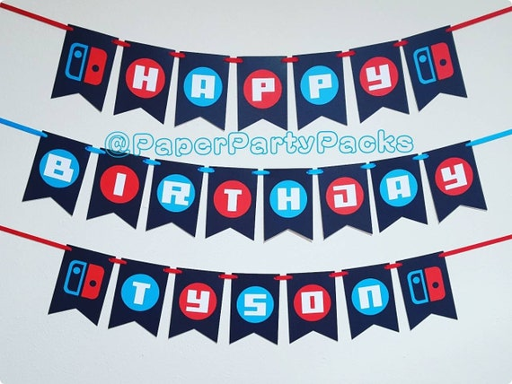 set of 3 switch game controller banners happy birthday banner name