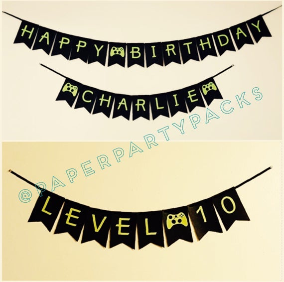 set of 3 xbox inspired game controller banners happy birthday