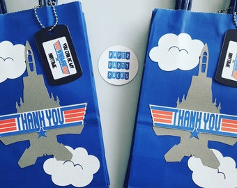 Set of 6 Fighter Jet Favor Bags for a Top Gun Party