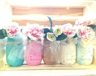 Painted  Masn Jar Set of 3, Mason Jar Vase, Distressed Mason Jar, Shabby Chic