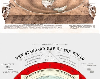 Flat Earth Maps. 1893 Square and Stationary Earth  and 1892 Gleason's New Standard Map Of The World