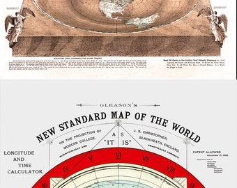 Gleason Flache Erde Karte.Flache Erde Karte 1892 Gleason Neue Standard Karte Der Welt Etsy