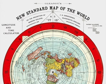 """Flat Earth Map. 1892 Gleason's New Standard Map Of The World Large 24"""" x 36"""" Poster Wall Art"""