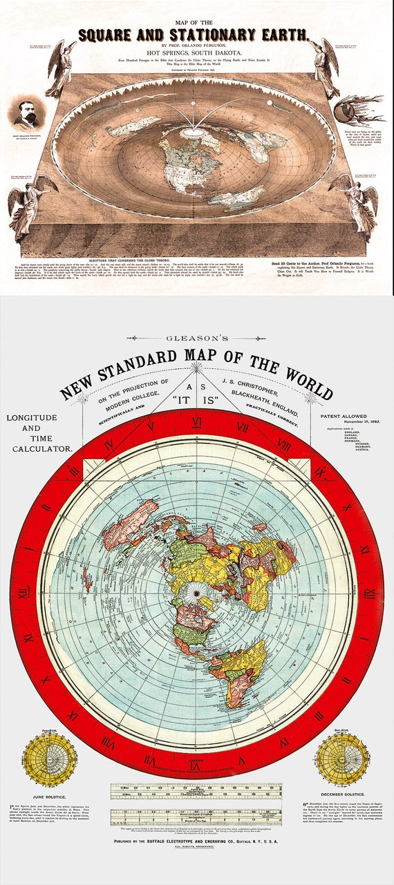 3 Square and Stationary Earth Orlando Ferguson Flat Earth Map Poster 24 x 18