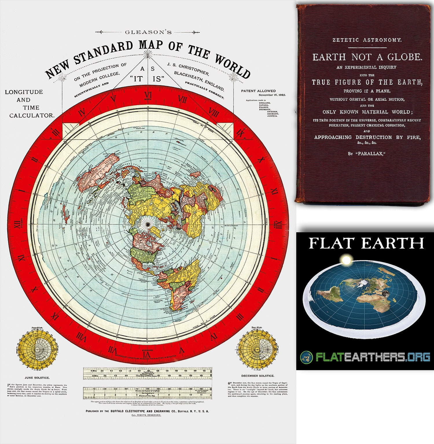 Flat Earth Map. 1892 Gleason\'s New Standard Map Of The | Etsy