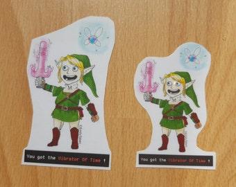 Legend of Zelda stickers - Link finds the Vibrator of Time
