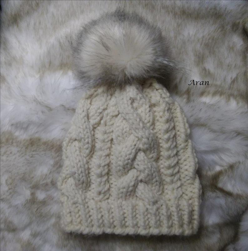 9b2645a607e Chunky Knit Faux Fur Pom pom Wool Hat Beanie Tuque Twisted