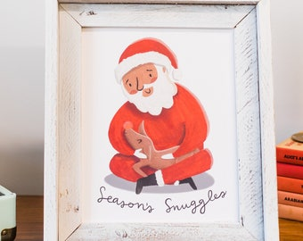 Santa and Rudolph Art Print 8x10 - Season's snuggles - Home decor wall art hanging poster christmas holiday print