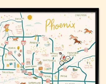 Map Of Arizona Phoenix.Phoenix Map Etsy