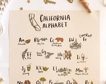 California Alphabet Poster - Kid's Room baby nursery gift decor wall hanging state girl boy room art