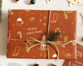 """Rust Merry Christmas Pattern Wrapping Paper Sheets - Each Sheet 20""""x29"""" - holiday cozy wrap gift present roll kids cute red"""