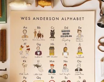 Wes Anderson Alphabet Poster 16x20 - moonrise kingdom grand budapest royal tenenbaums isle of dogs darjeeling fantastic mr fox movie art