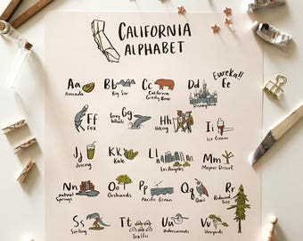 California Alphabet Poster 16x20 - Adventure Kid's Room
