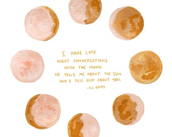 Moon Quote Art Print - sl gray i have late night conversations with the moon - 8x10