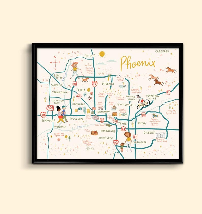 Phoenix Map Art Print 8x10 - illustrated Arizona poster 8x10 11x14 on map of arizona state fairgrounds, map downtown chand er, map of camelback mountain, map of arizona state capitol, map of camelback ranch, map of kierland commons, map of phoenix art museum, map of phoenix symphony hall, map of scottsdale, map of arizona mills,