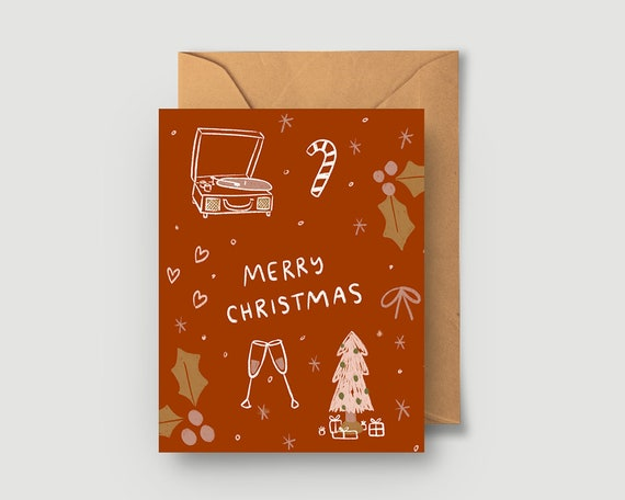 Cozy rust christmas greeting card single or boxed cards set etsy image 0 m4hsunfo