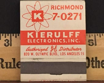 Vintage 1940s Matchbook for Kierulff Electronics - GE Distributor-Los Angeles