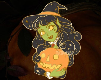 PREORDER Witch Enamel Pin vintage halloween retro cartoon spooky autumn fall lapel pin witchcraft witchy
