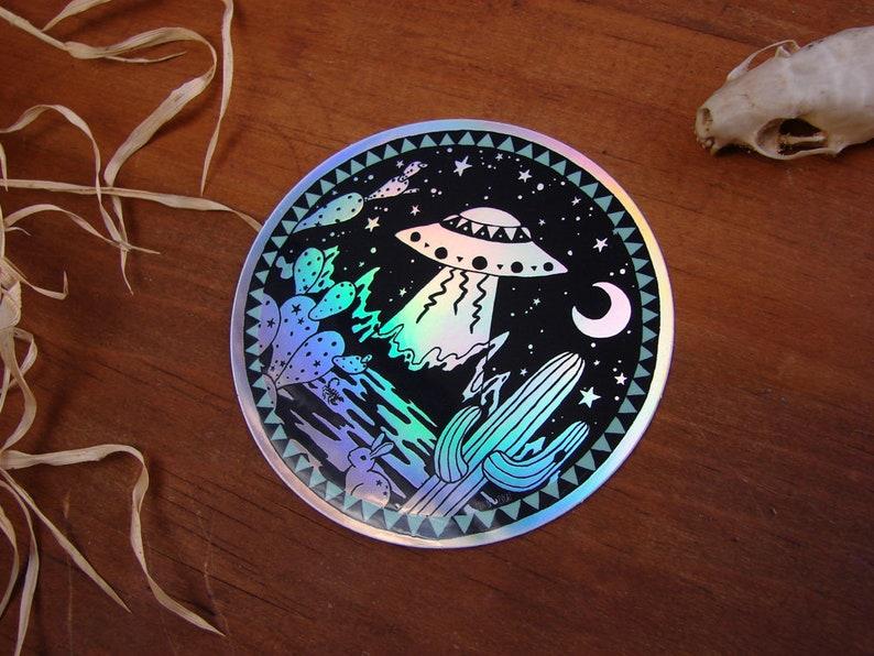 Holographic or Gloss UFO Alien XFiles Believer oval Vinyl Sticker